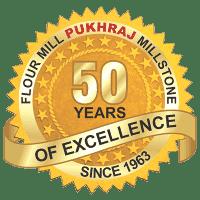 Pukhraj Mill Stone 50 Year Logo